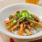 まき割りエリンギの中華風ご飯